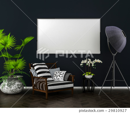 Dark interior background, blank picture frame mock 29810927