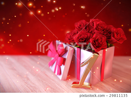 birthday concept with red roses in gift on wooden 29811135