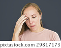 Woman Sickness Headache Cold Fever Concept 29817173