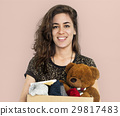 Woman Studio Portriat Casual Carrying a Box Isolated 29817483