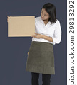 Woman Holding Cork Board Copy Space Concept 29818292