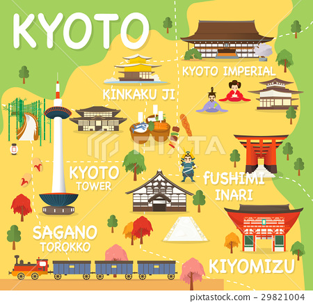 Map Of Kyoto Attractions Vector And Illustration. 29821004