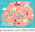 Map Of Paris Attractions Vector And Illustration. 29821006