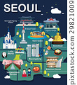 Map Of Seoul Attractions Vector And Illustration. 29821009
