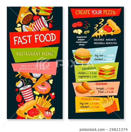 Fast Food Vector Restaurant Template Menu Stock Illustration