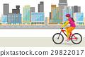 거리를 자전거 이미지 일러스트 (여성) 29822017
