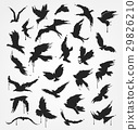 figures of flying birds in grunge style 29826210