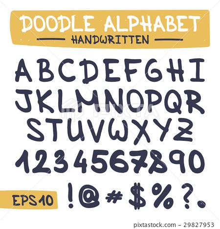 Doodle Letters Set - Hand Written Alphabet  - Stock