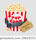 Popcorn In Cardboard Box With Tickets Cinema 29830555