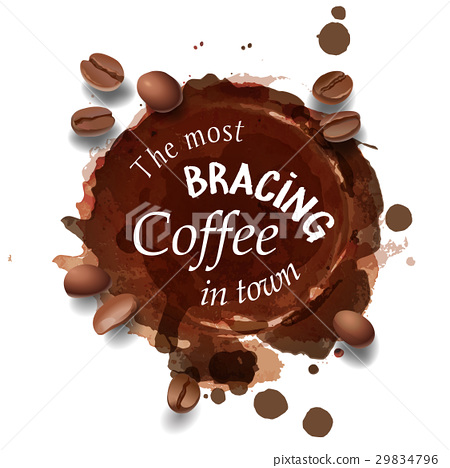 illustration of a coffee stain, streaks. 29834796