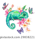 Watercolor green chameleon with butterflies 29838221