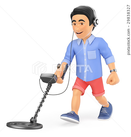 3D Young man in shorts with a metal detector 29838327