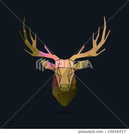 deer portrait invert frame color poly 29838457