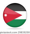 Flag of Jordan. Shiny round button. 29839200