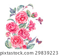 Vintage watercolor garden flowers with pink 29839223