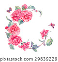Vintage watercolor wreath with pink camellia 29839229