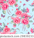 Watercolor seamless pattern with pink camellia 29839233