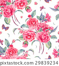 Watercolor seamless pattern with pink camellia 29839234