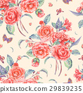 Watercolor seamless pattern with red camellia 29839235