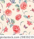Watercolor seamless pattern with red camellia 29839239