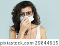 Woman Sickness Protective Mask Fever Concept 29844915