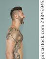 Adult Men Shirtless Tattoo Screaming Studio 29845945