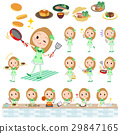 Pop idol in green costume cooking 29847165