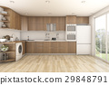 3d rendering wood laundry and kitchen 29848791