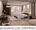 3d rendering night bedroom with parquet floor 29849065