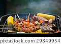 The men were on the barbecue grill vegetables 29849954
