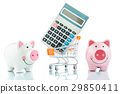 Piggy bank, calculator and a shopping trolley 29850411