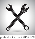Crossed wrenches. Black silhouette signs 29852829