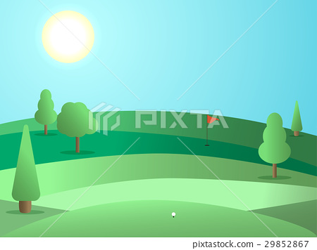 Golf course with a hole and a red flag. Landscape 29852867
