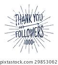 Vintage Thank you 1000 followers badge. Social 29853062