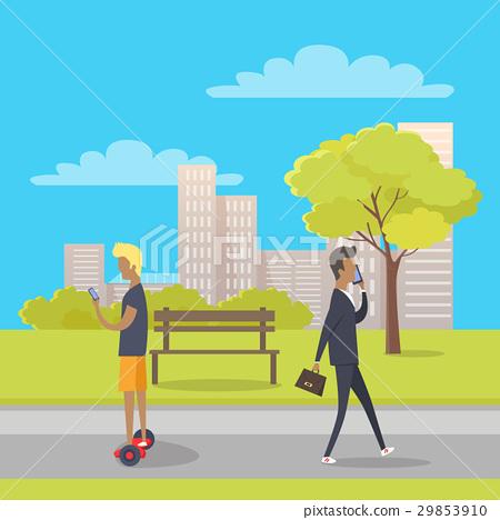 Stroll in City Park Flat Vector Illustration 29853910