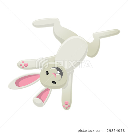Smiling White Bunny Head Over Heels Isolated 29854038