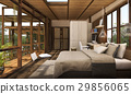 contemporary wood bedroom with balcony 29856065
