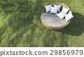 3d rendering round outdoor sofa in the grass field 29856979