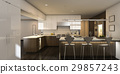 3d rendering warm light beautiful kitchen 29857243