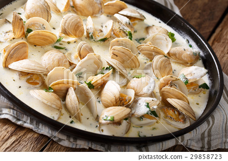 Stewed clam in a creamy sauce with herbs 29858723