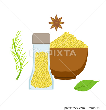 Sesame seeds in a wooden bowl and glass jar, herbs 29859865