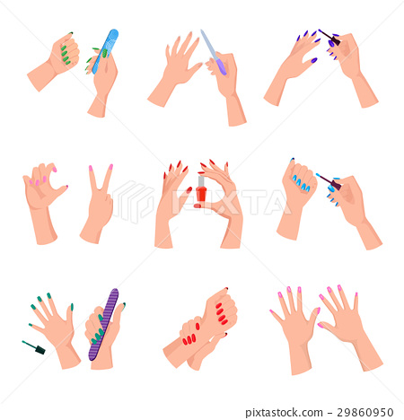 Manicured Women Nails Isolated Illustrations Set 29860950