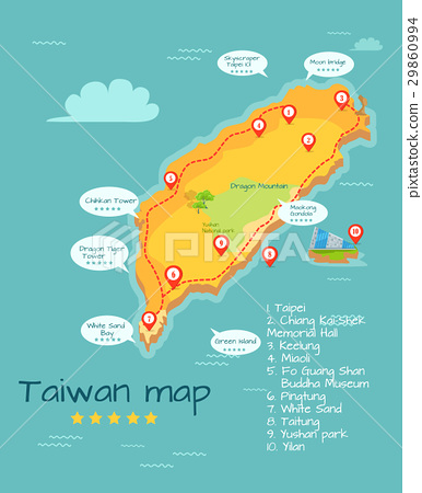 Cartoon Taiwan Map with Famous Places Illustration 29860994