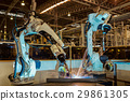 Team robots are test run welding in car factory 29861305