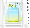 Nature background with open window and blossom 29861757