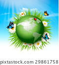 Ecology concept.Green Globe and Grass with Flowers 29861758