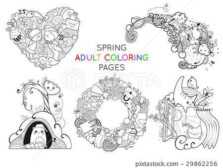 Set Of Spring Adult Coloring Pages Template Vector Stock