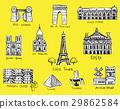 Paris city sights illustrations 29862584