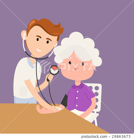 Grandmother measures pressure with doctor in 29863673