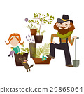 Father and daughter planting in the garden 29865064